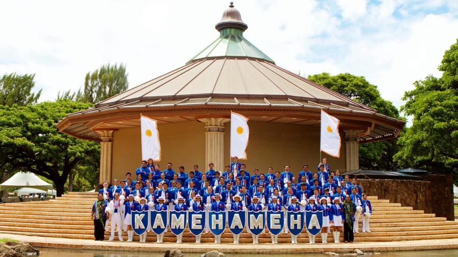 The Warrior Band posing in front of the Kapiʻolani Bandstand