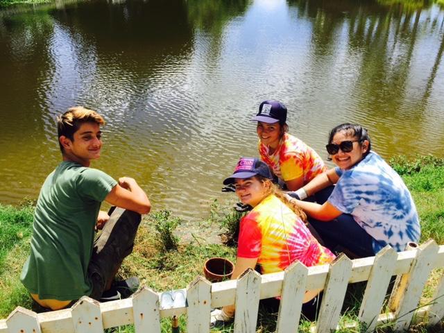 Kamehameha Seniors (left to right: Pohakea St.Clair, Ava Dotson, Mimo Yuen, Callan Medeiros) planting native Hawaiian plants at Liveable Hawaiʻi Kai Hui, Alae ʻUla sanctuary, in Hawaii Kai.