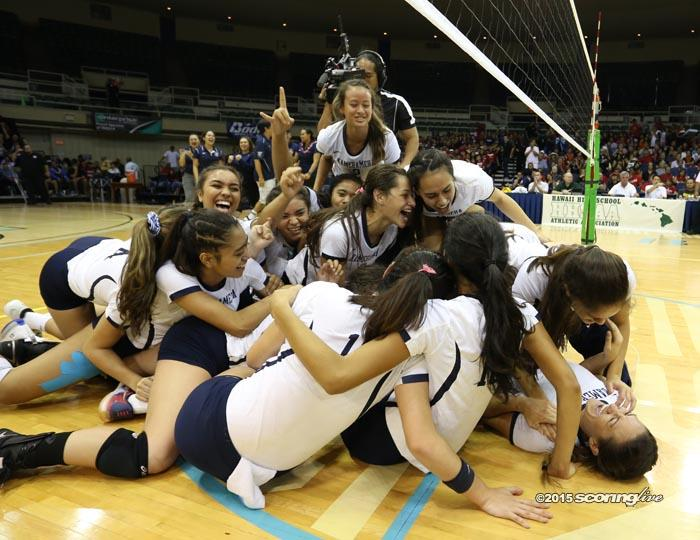Kamehameha Warriors celebrate their State title after the championship game concludes
