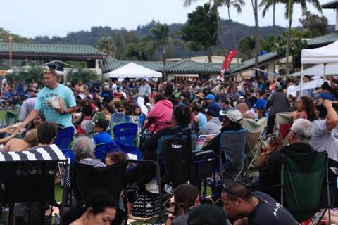 Thousands of people gather on the lawn for the entertainment at Ho'olaule'a