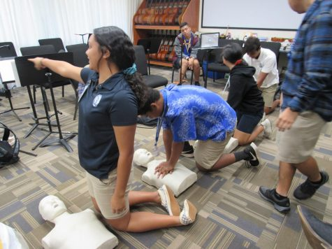 Homeroom students participate in a CPR training to raise awareness and be able to respond for an emergency.