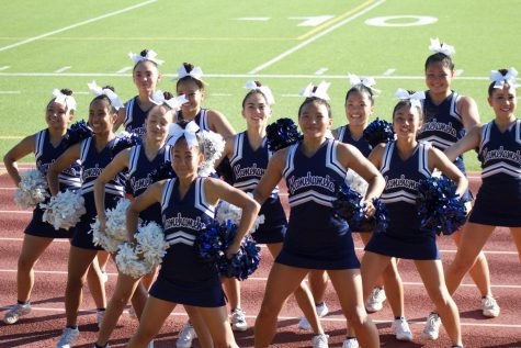 Cheer team gets in formation to begin a band dance.