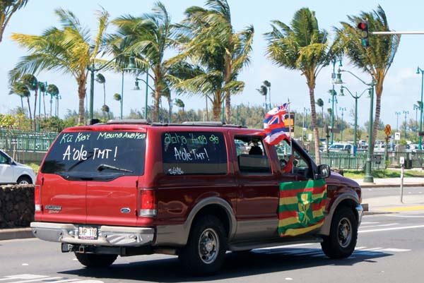 Maui residents are seen showing their activism by waving Hawaiian flags from their car.