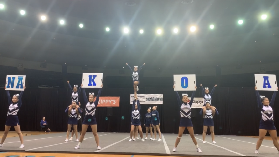 Here, is our local Kamehameha Kapālama cheerleaders as they perform their routine at their States Championships.