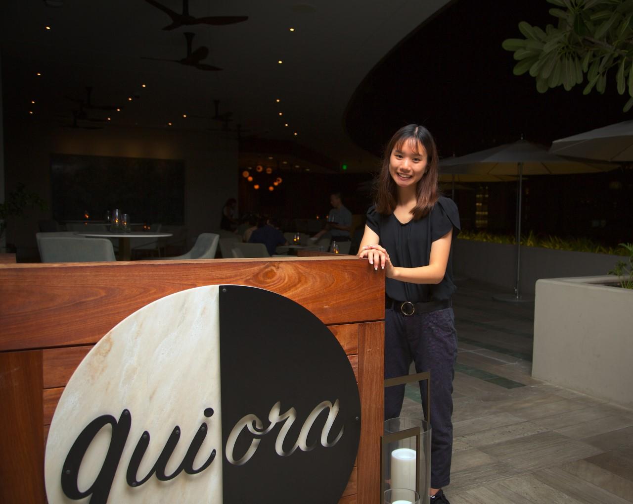 Jade Frank at her job at the Ritz Carlton Hotel in Waikiki.