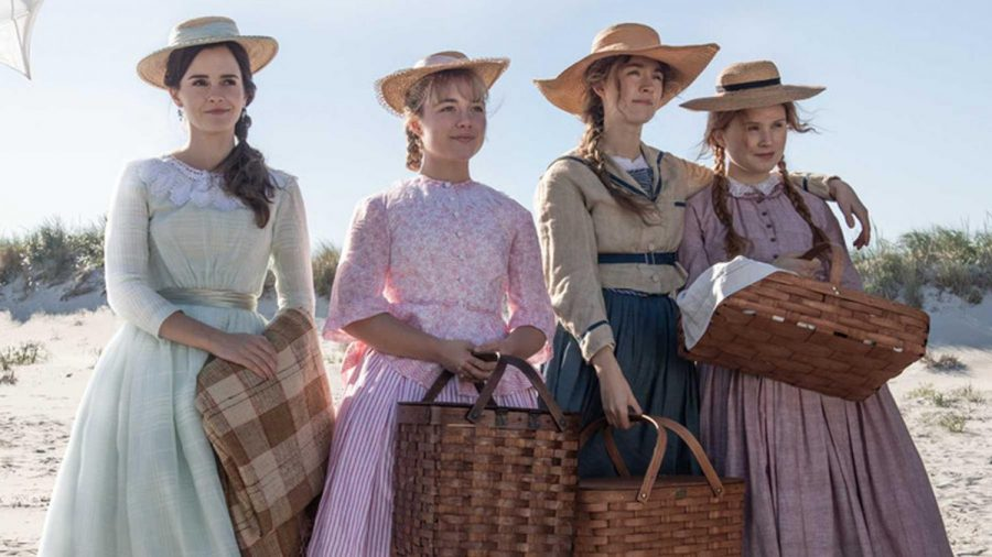 The March sisters posed together on the beach for a scene in the new Little Women film adaptation.