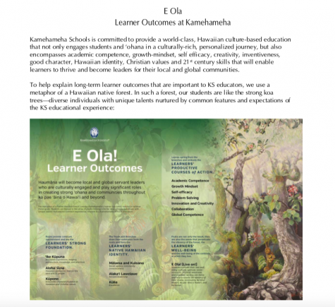 ": The: E Ola Learner Outcomes"" in the Student and Parent Handbook which explains student goals and environments."