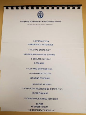 The Kamehameha Schools Emergency Pamphlet contains procedure for teacher and faculty to refer to in the event of an emergency on campus.