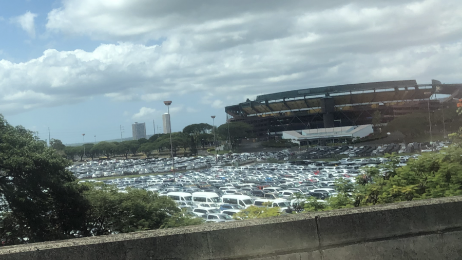 Here is a picture of Aloha stadium fully maxed out due to rental cars