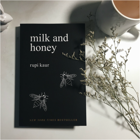 milk and honey, a best selling poetry book by Rupi Kaur.