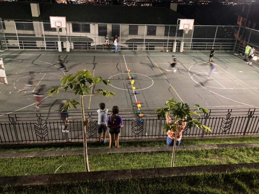 Upper and Lower class boarders take over the court in a competitive round of dodgeball.